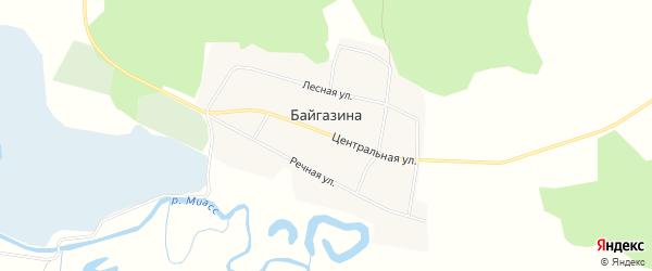 Карта деревни Байгазина в Челябинской области с улицами и номерами домов