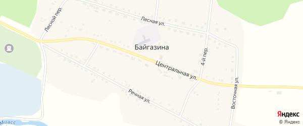 Березовая улица на карте деревни Байгазина с номерами домов