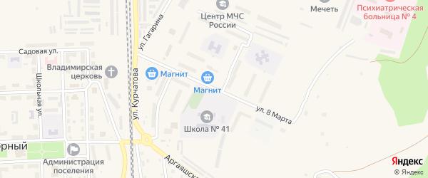 Улица 8 Марта на карте Новогорного поселка с номерами домов
