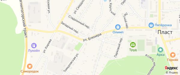 Западный переулок на карте Пласта с номерами домов
