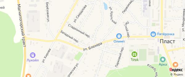 Стадионный переулок на карте Пласта с номерами домов