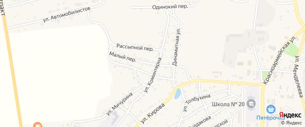 Малый переулок на карте Пласта с номерами домов