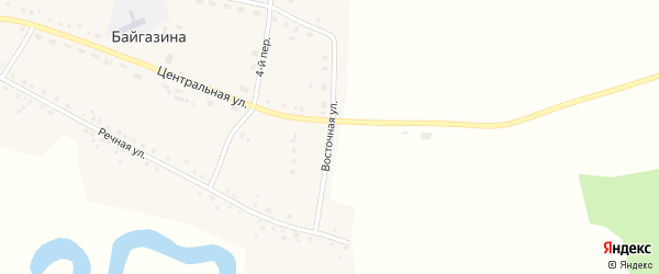 Восточная улица на карте деревни Байгазина с номерами домов