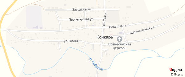Солнечная улица на карте села Кочкаря с номерами домов