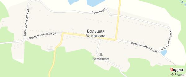 Восточный переулок на карте деревни Большая Усманова с номерами домов