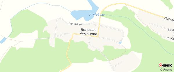 Карта деревни Большая Усманова в Челябинской области с улицами и номерами домов
