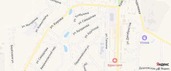 Улица Крупской на карте Пласта с номерами домов