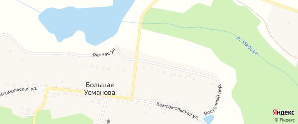Речная улица на карте деревни Большая Усманова с номерами домов