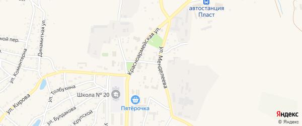 Гостинный переулок на карте Пласта с номерами домов