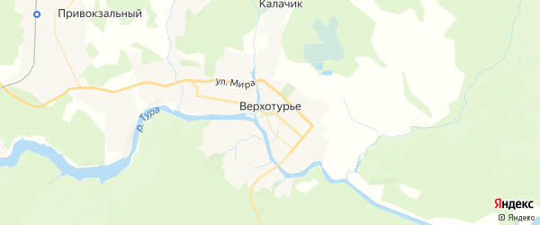Карта Верхотурья с районами, улицами и номерами домов