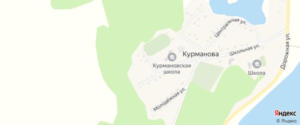 Зеленый переулок на карте деревни Курманова с номерами домов