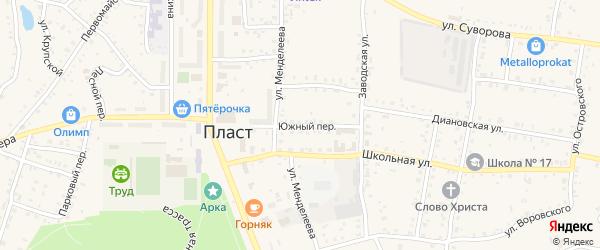 Южный переулок на карте Пласта с номерами домов