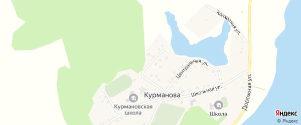 Улица Салавата Юлаева на карте деревни Курманова с номерами домов