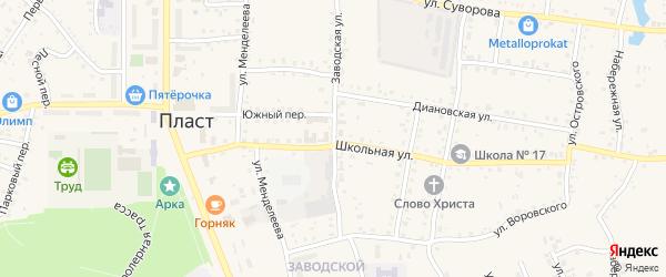 Заводская улица на карте Пласта с номерами домов