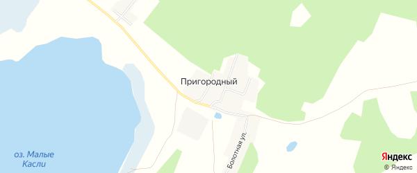 Карта Пригородного поселка города Касли в Челябинской области с улицами и номерами домов