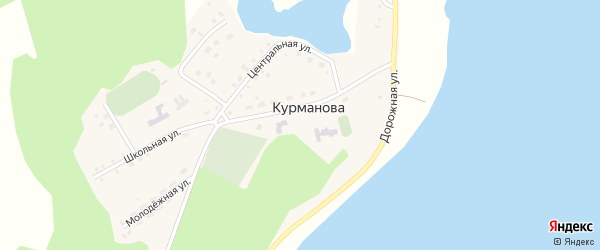 Зеленая улица на карте деревни Курманова с номерами домов