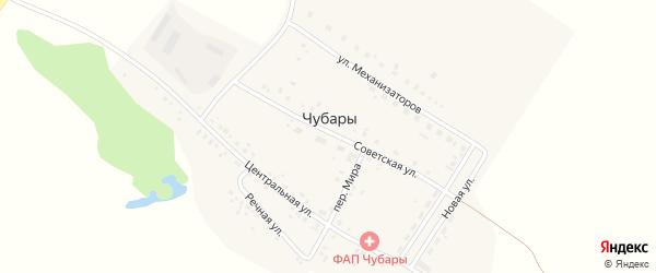 Центральная улица на карте поселка Чубар с номерами домов