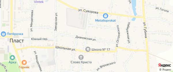 Улица Воровского на карте Пласта с номерами домов