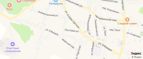 Почтовый переулок на карте Челябинска с номерами домов