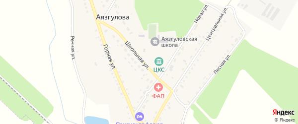 Лесная улица на карте деревни Аязгулова с номерами домов