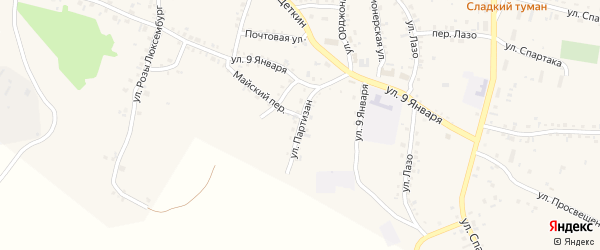 Улица Партизан на карте Пласта с номерами домов