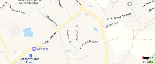 Улица Пугачева на карте Пласта с номерами домов