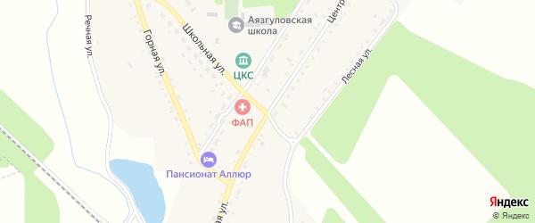 Центральная улица на карте деревни Аязгулова с номерами домов