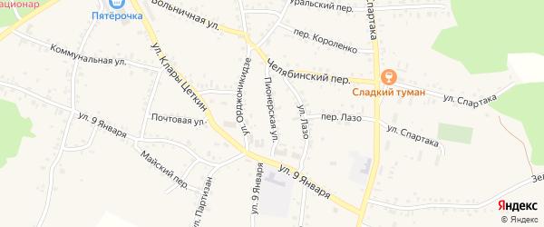 Пионерская улица на карте Пласта с номерами домов
