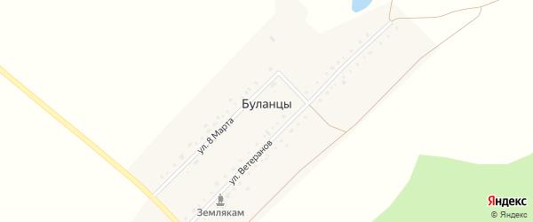 Переулок Ветеранов на карте деревни Буланцев с номерами домов