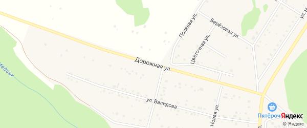 Дорожная улица на карте деревни Акбашева с номерами домов