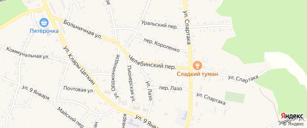 Челябинский переулок на карте Пласта с номерами домов