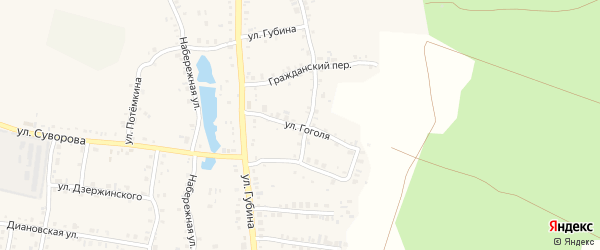 Улица Гоголя на карте Пласта с номерами домов
