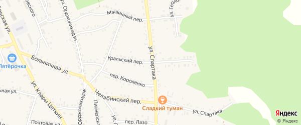 Уральский переулок на карте Пласта с номерами домов
