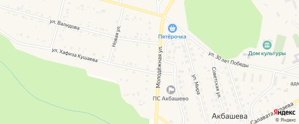 Молодежная улица на карте деревни Акбашева с номерами домов