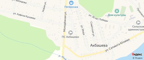 Первомайская улица на карте деревни Акбашева с номерами домов