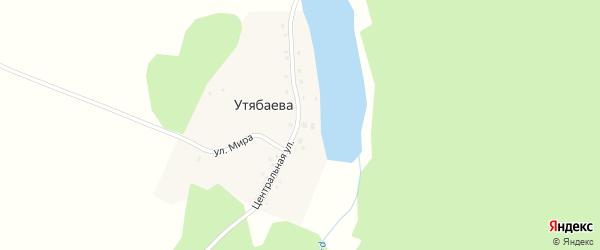 Центральная улица на карте деревни Утябаева с номерами домов
