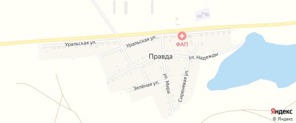 Мирный переулок на карте поселка Правды с номерами домов