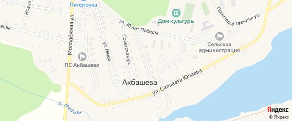 Улица 60 лет Октября на карте деревни Акбашева с номерами домов