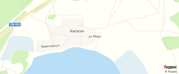 Карта поселка Кисегач в Челябинской области с улицами и номерами домов