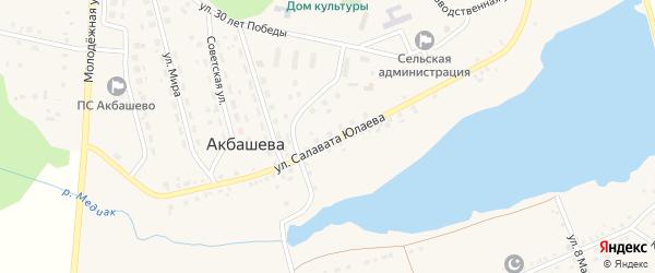 Солнечная улица на карте деревни Акбашева с номерами домов