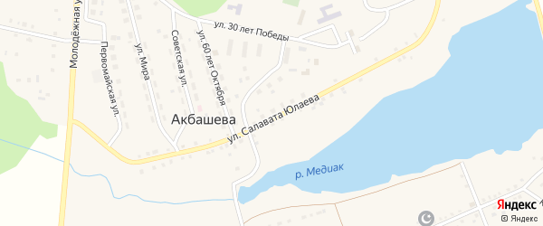 Улица Дружбы на карте деревни Акбашева с номерами домов