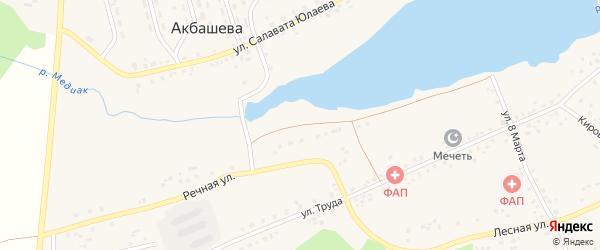 Речная улица на карте деревни Акбашева с номерами домов