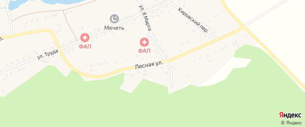 Лесная улица на карте деревни Акбашева с номерами домов