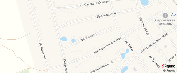 Улица Васенко на карте села Аргаяша с номерами домов