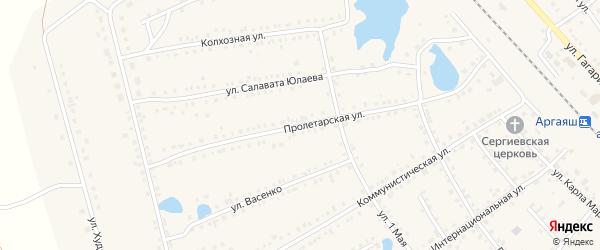 Пролетарская улица на карте села Аргаяша с номерами домов
