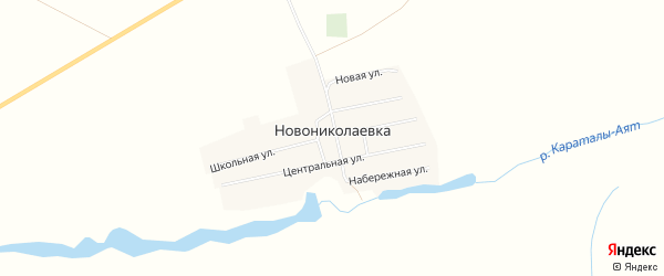 Карта села Новониколаевки в Челябинской области с улицами и номерами домов