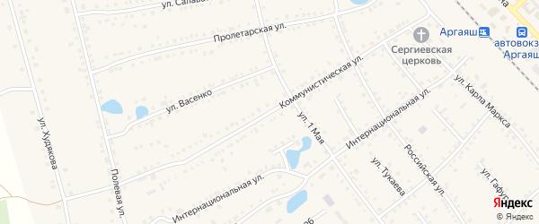 Коммунистическая улица на карте села Аргаяша с номерами домов