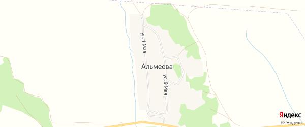 Карта деревни Альмеева в Челябинской области с улицами и номерами домов