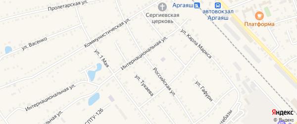 Российская улица на карте села Аргаяша с номерами домов
