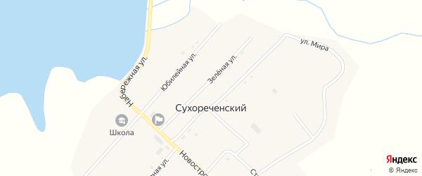 Зеленая улица на карте Сухореченского поселка с номерами домов